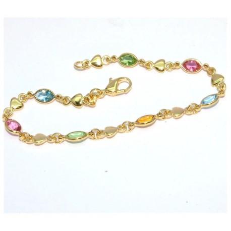 Bracelet plaqué or coeurs et pierres multicolors