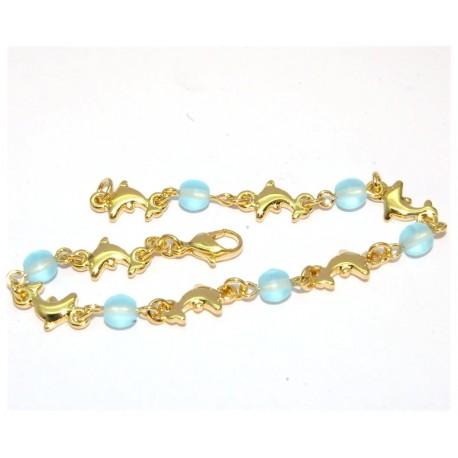 Bracelet plaqué or boules bleues et dauphins