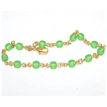 Bracelet plaqué or pierres vertes
