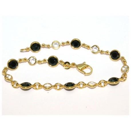 Bracelet plaqué or pierre noirs et blanches