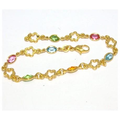 Bracelet plaqué or pierres multicolores