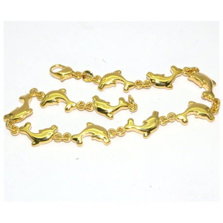 Bracelet plaqué or avec dauphins
