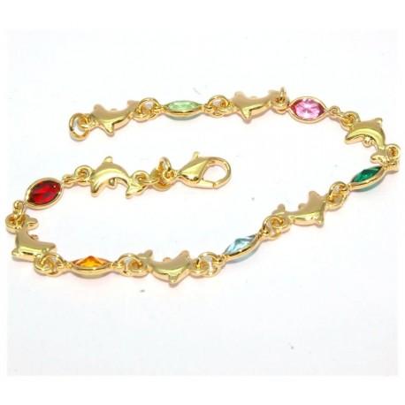 Bracelet plaqué or avec dauphins et pierres multicolors