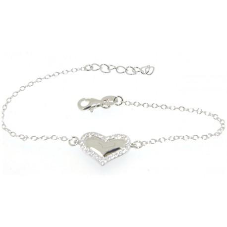 Bracelet argent coeur oxydes