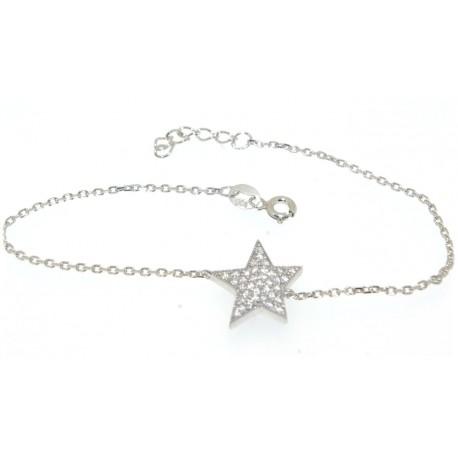 Bracelet argent motif étoile oxydes