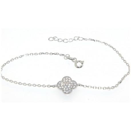 Bracelet argent motif fleur oxydes
