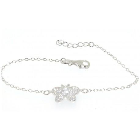 Bracelet argent motif papillon oxydes