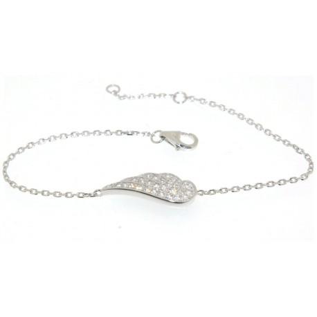 Bracelet argent motif aile d'ange oxydes