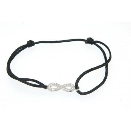 Bracelet argent cordon noir motif infini oxydes