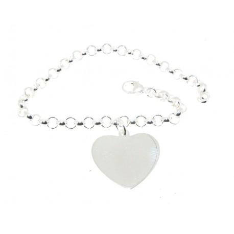 Bracelet argent maille jaseron avec coeur