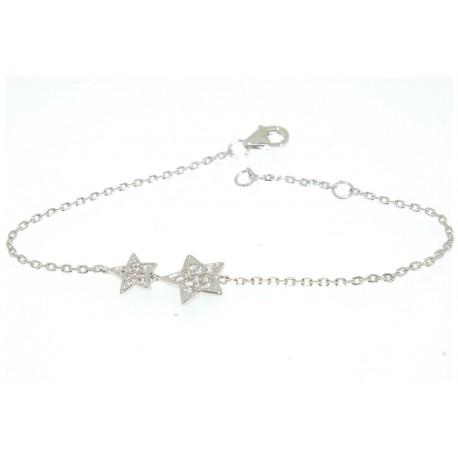 Bracelet argent motif étoiles oxydes