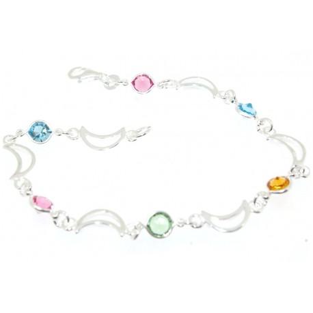 Bracelet argent pierres de couleur