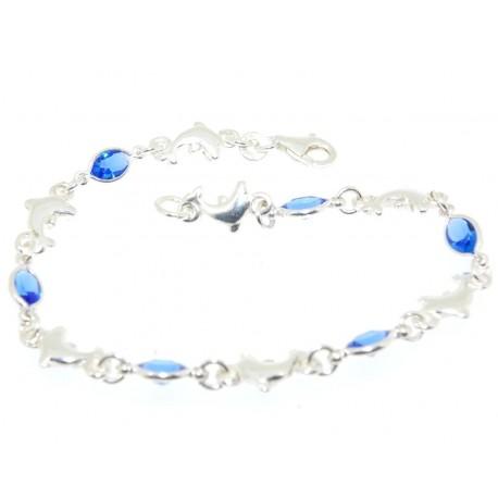 Bracelet argent dauphins et pierres bleues