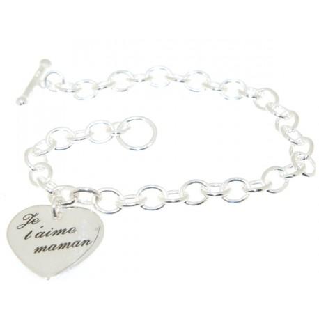 Bracelet argent coeur avec gravure