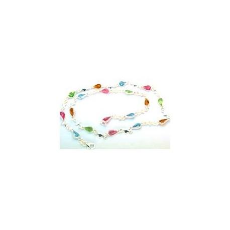 Collier argent pierres de couleurs