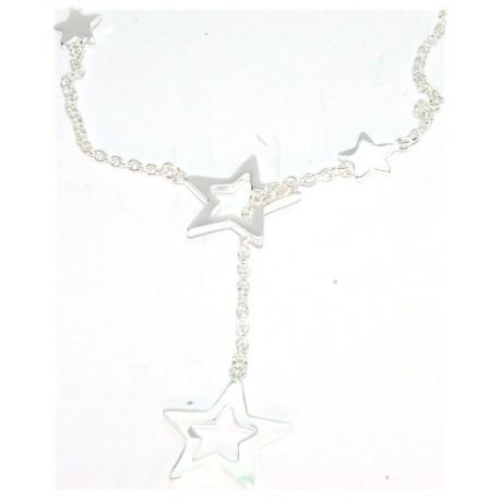 Collier argent motif étoiles