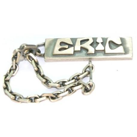 Porte clés argent prénom découpé