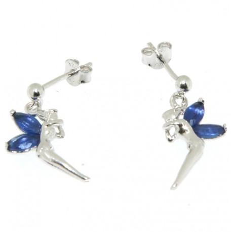 Boucles d'oreilles argent elfes oxydes bleu