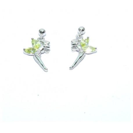 Boucles d'oreilles argent elfes oxydes verts