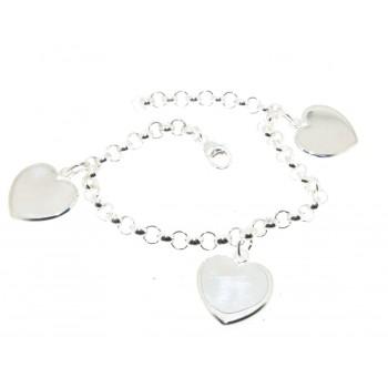 Bracelet argent breloques coeurs