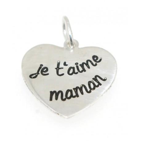 Pendentif argent coeur  je t'aime maman