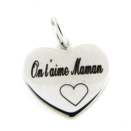 Pendentif argent coeur on t'aime maman