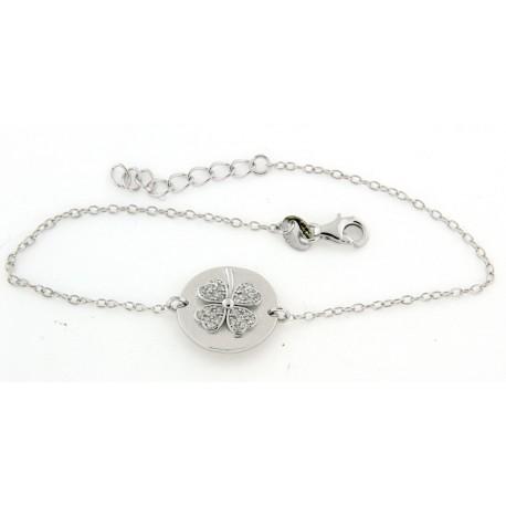 Bracelet argent trefle avec oxydes