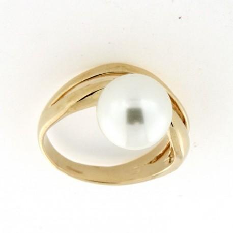 Bague plaqué or avec perle blanche
