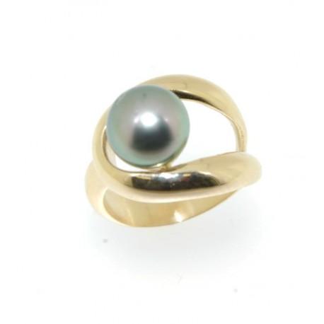 Bague plaqué or perle de tahiti
