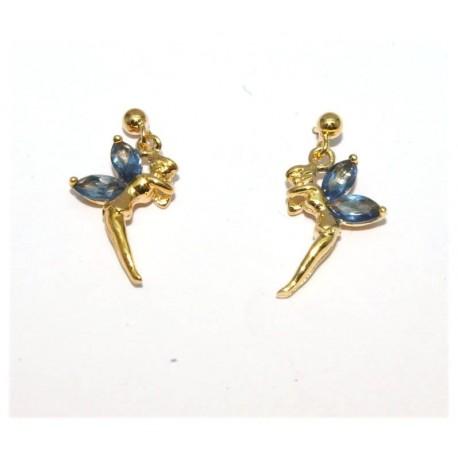 Boucles d'oreilles plaqué or elfe pierres bleues
