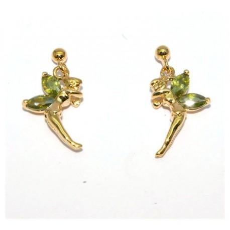 Boucles d'oreilles plaqué or elfe pierre verte
