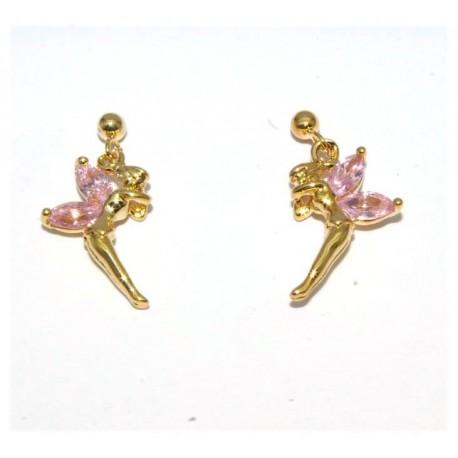 Boucles d'oreilles plaqué or elfe pierres rose