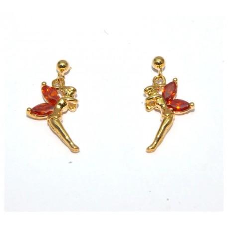 Boucles d'oreilles plaqué or elfe pierres grenat
