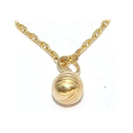 pendentif plaqué or boule de pétanque avec chaîne forçat
