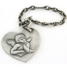 Porte clés argent coeur ange vieilli