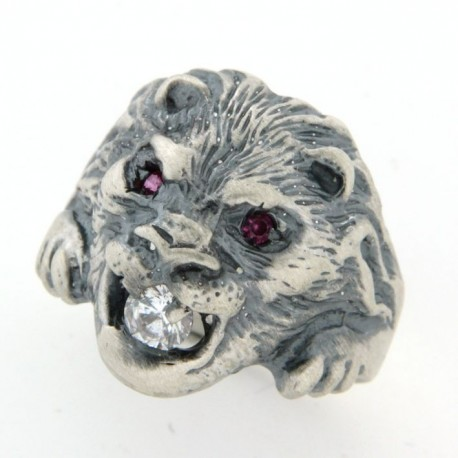 Chevalière argent lion oxyde et rubis synthètique