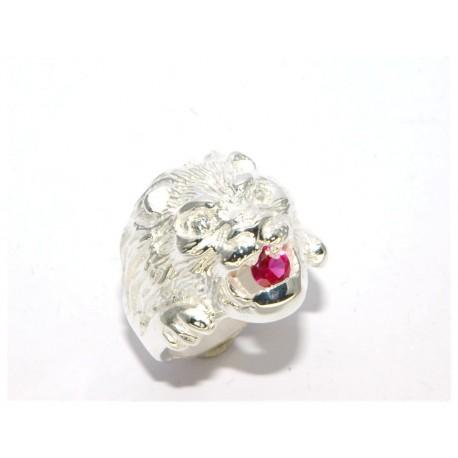 Chevalière argent lion avec oxydes et rubis synthétique