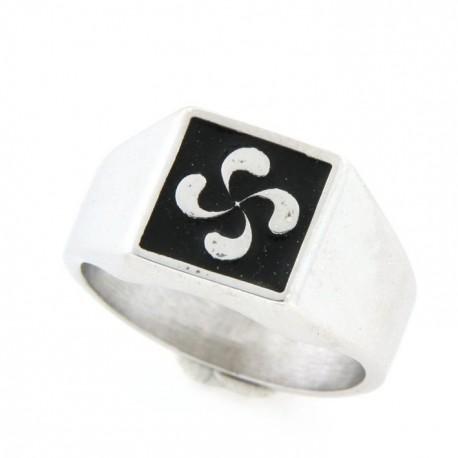 Chevalière argent avec symbole basque