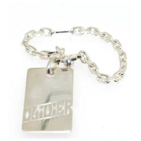 Porte clés argent avec prénom découpé
