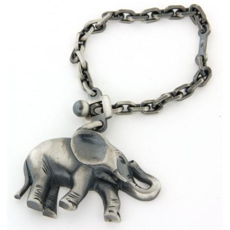 Porte clés argent massif vieilli éléphant