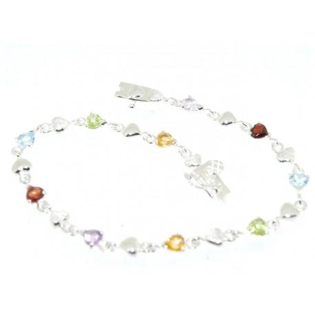 Bracelet argent pierres de couleur coeurs