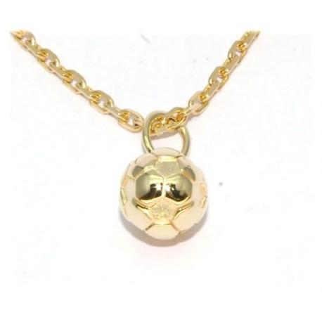 Pendentif ballon foot plaqué or avec chaîne
