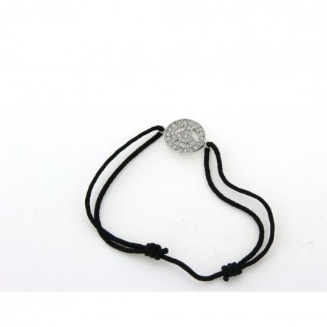 Bracelet argent cordon noir peace and love avec oxydes