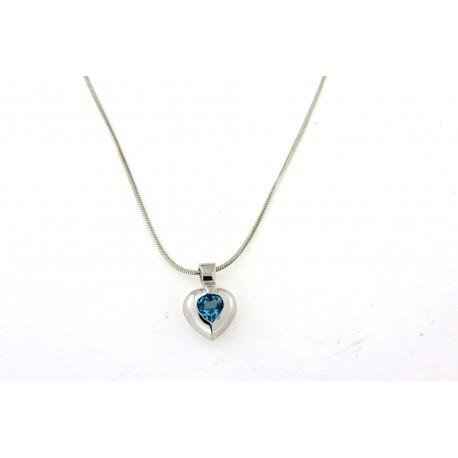 Collier argent avec pendentif coeur pierre bleue