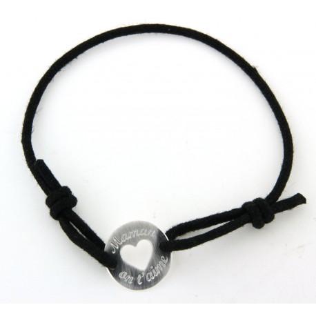 """Bracelet argent cordon noir """"Maman on t'aime"""""""
