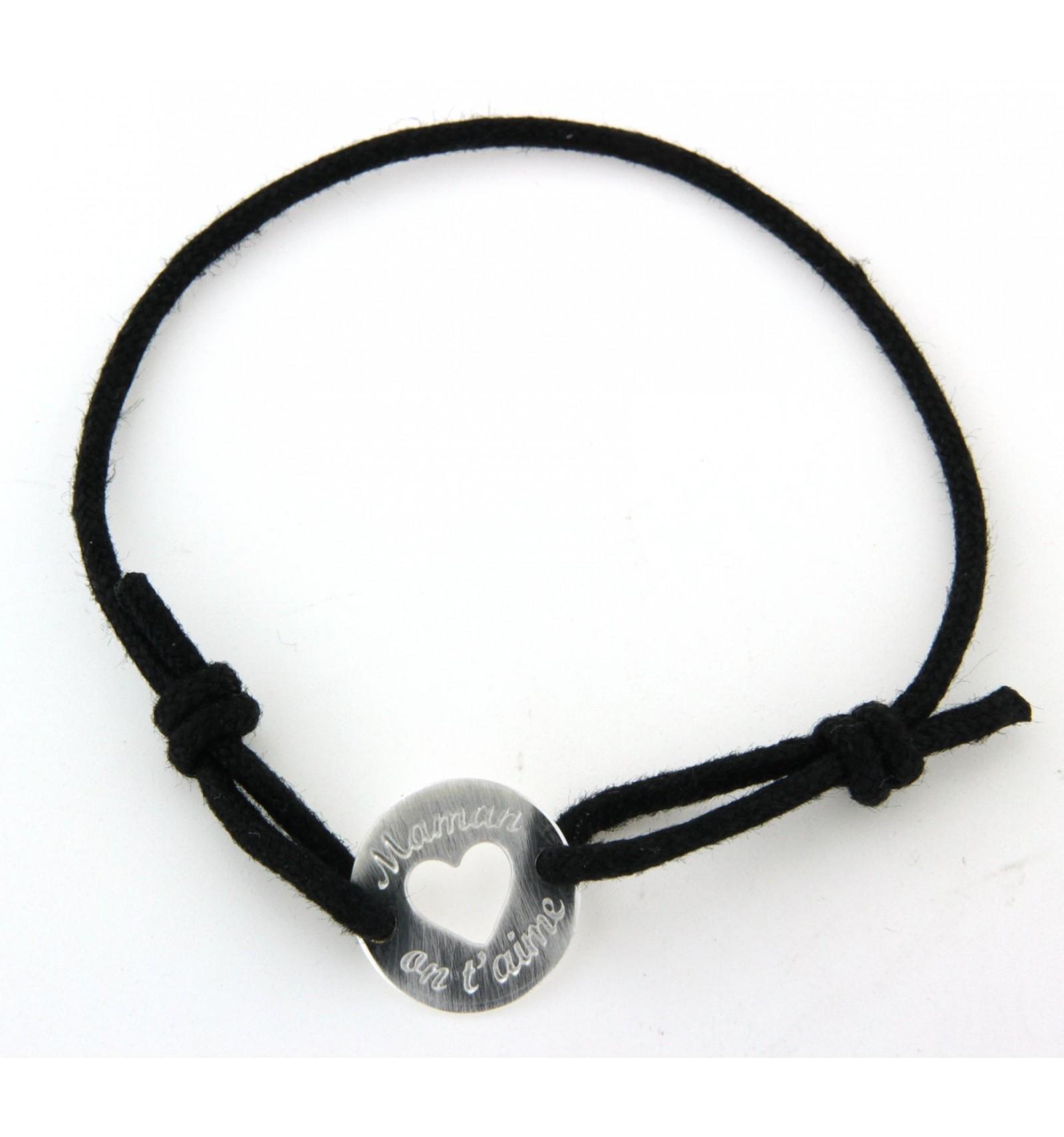 bracelet argent cordon noir maman on t 39 aime bijoux promotion. Black Bedroom Furniture Sets. Home Design Ideas