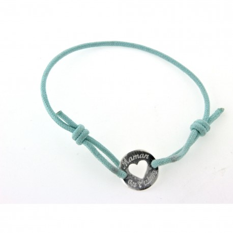 """bracelet argent cordon bleu turquoise """"Maman on t'aime"""""""
