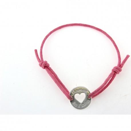 """Bracelet argent cordon rose """"Maman on t'aime"""""""
