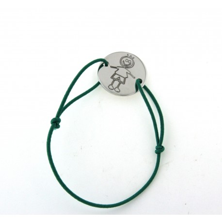 Bracelet cordon bleue avec rond argent motif garçon