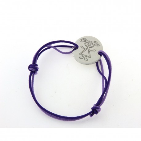Bracelet cordon avec médaille ronde motif petite fille